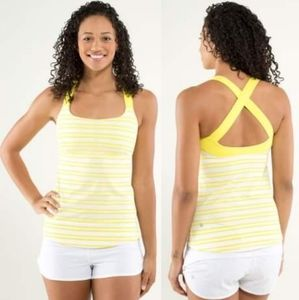 Lululemon Track & Train Tank Yellow Stripe size 4